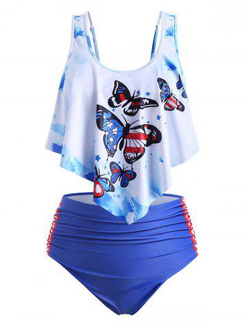 Plus Size Ruffled Butterfly Print Tankini Swimwear