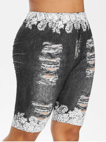 Plus Size Ripped Jeans Floral Printed Fitted Leggings - BLACK - 1X