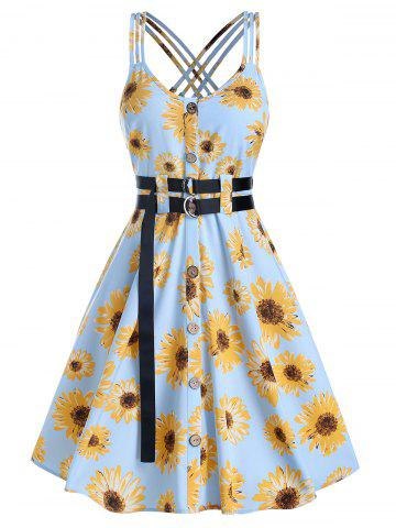 Button Through Flower Print Strappy Belted Dress