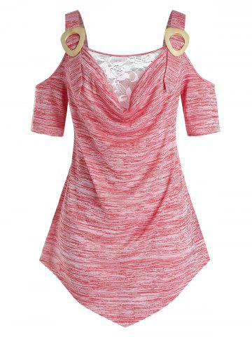 Plus Size Space Dye Lace Panel Cold Shoulder Draped Tunic Tee - FLAMINGO PINK - L