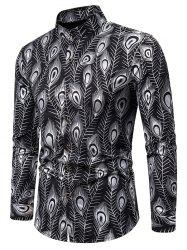 Gilding Peacock Feathers Stand Collar Button Up Shirt -