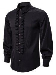 Front Ruched Button Up Gothic Shirt -