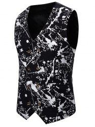Gliding Splatter Paint Double Breasted Casual Vest -