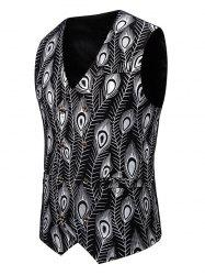 Gilding Peacock Feathers Double Breasted Casual Vest -