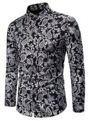 Gilding Paisley Pattern Stand Collar Button Up Shirt -