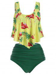 Flamingo Flounce High Rise Ruched Tankini Swimwear -