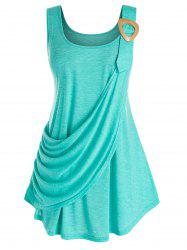 Plus Size Draped Ruched Tunic Curved Tank Top -