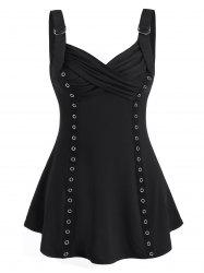 Grommet Strap Ruched Cami Tank Top -