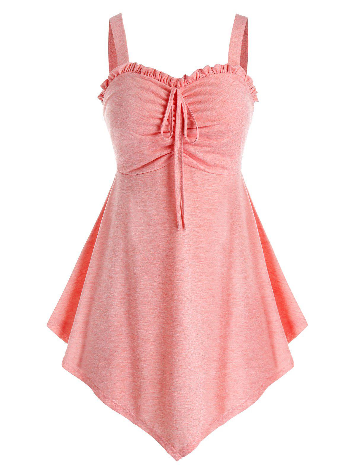 Store Plus Size Ruffle Asymmetric Ruched Tank Top