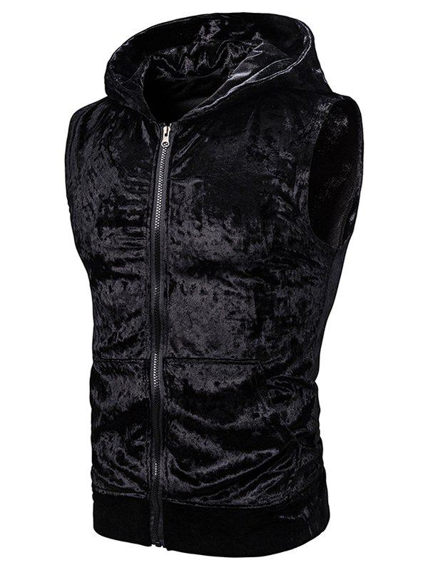 Affordable Zip Up Front Pocket Hooded Velvet Vest