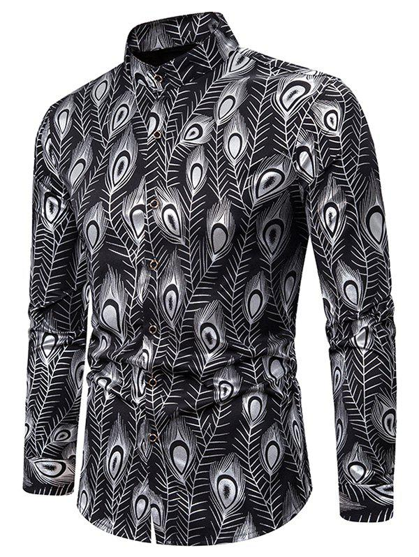 Affordable Gilding Peacock Feathers Stand Collar Button Up Shirt