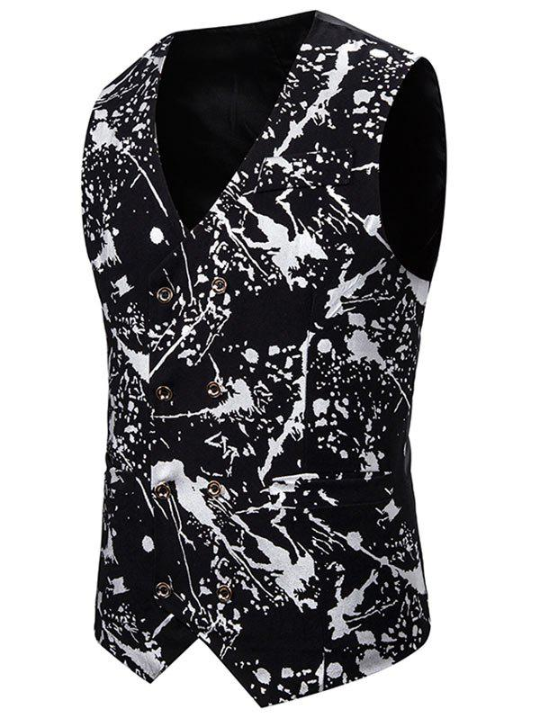Hot Gliding Splatter Paint Double Breasted Casual Vest