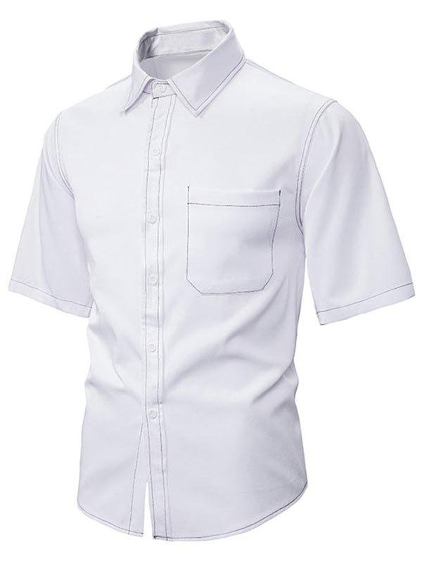 Best Contrast Stitching Half Sleeve Button Up Shirt