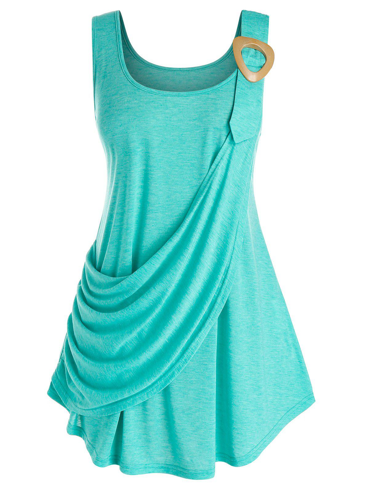 Fancy Plus Size Draped Ruched Tunic Curved Tank Top