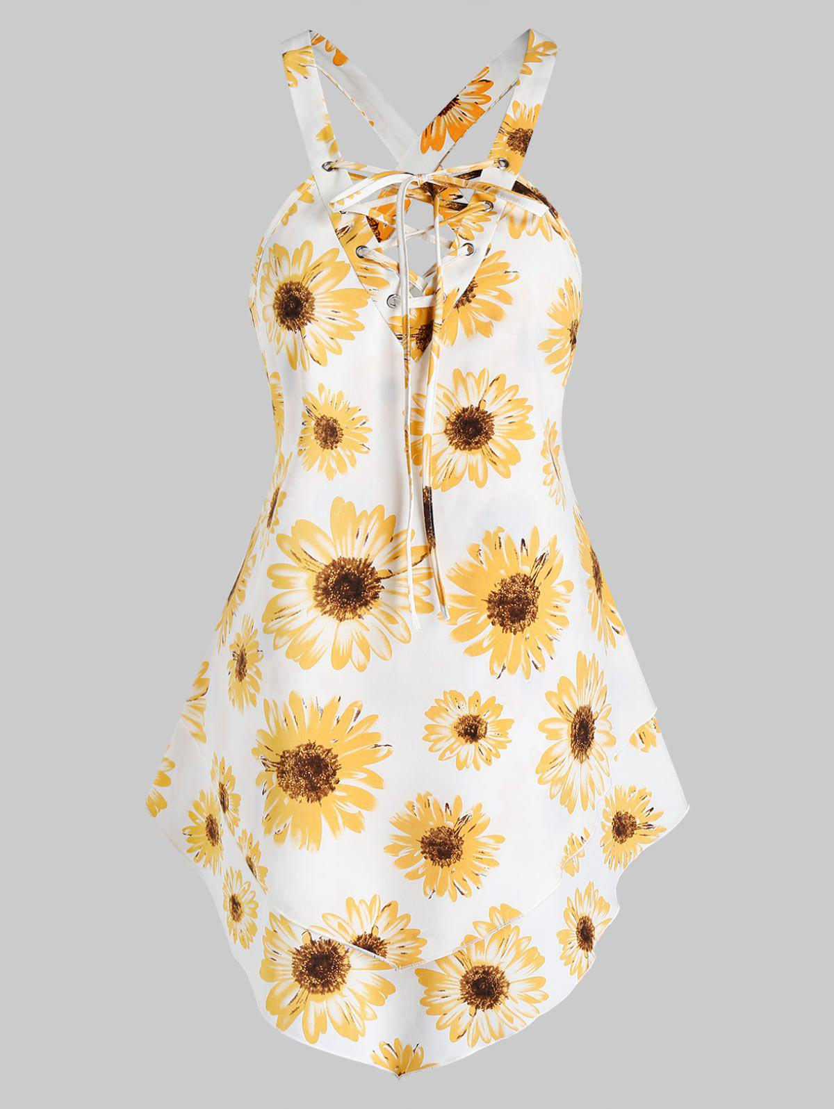 Sunflower Print Layered Lace-up Tank Top фото