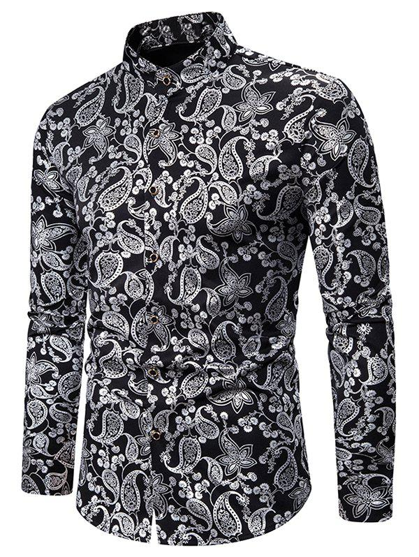 Image of Gilding Paisley Pattern Stand Collar Button Up Shirt
