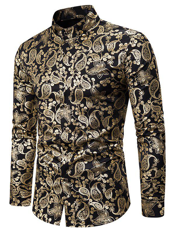 Buy Gilding Paisley Pattern Stand Collar Button Up Shirt