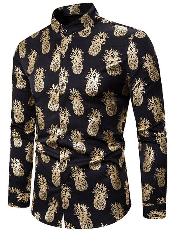 Trendy Gilding Pineapple Pattern Stand Collar Button Up Shirt