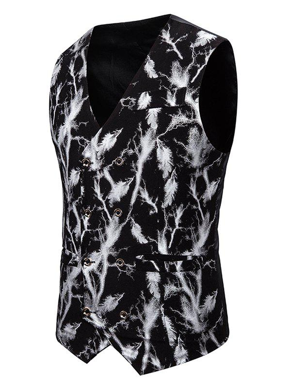 Affordable Gliding Lightning Print Double Breasted Casual Vest