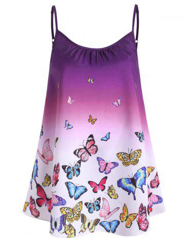 Plus Size Ombre Butterfly Print Cami Top - PLUM - 2X