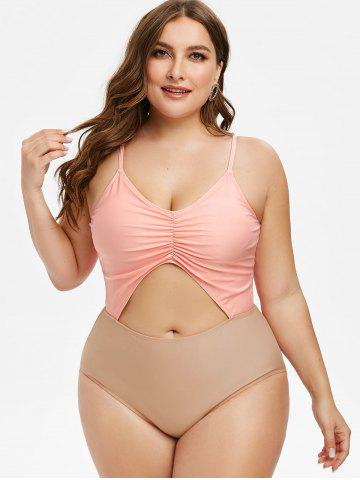 Plus  Size Ruched Cutout One-piece Cami Swimsuit