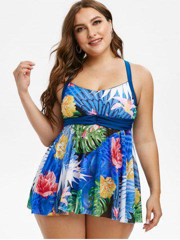 Plus Size Crisscross Tropical Print Skirted Tankini Swimwear