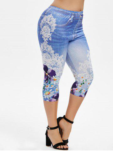 Plus Size 3D Denim Print Floral Capri Leggings - DENIM BLUE - 2X