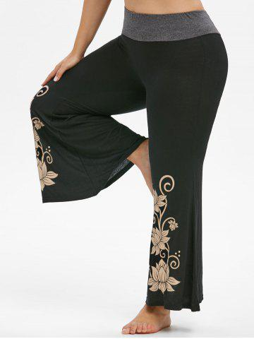Marl Panel High Waisted Floral Plus Size Flare Pants - BLACK - 1X