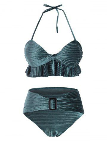 Ruffles Velvet Solid Bikini Set - MEDIUM SEA GREEN - L