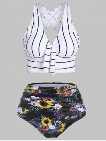 Striped Sunflower Criss Cross Tummy Control Bikini Swimwear - WHITE - 2XL