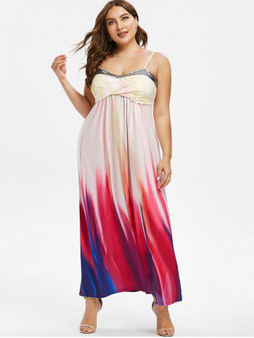 Plus Size Crossover Sequins Tie Dye Maxi Dress