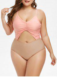 Plus  Size Ruched Cutout One-piece Cami Swimsuit -