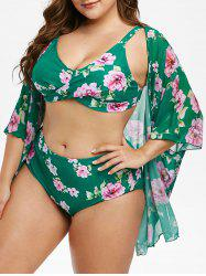 Plus Size Cover Up Flower Print Tankini Swimsuit -