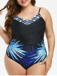 Plus Size Printed One-piece Cami Swimsuit -
