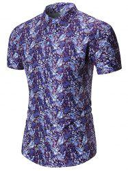 Leaf Pattern Casual Button Up Shirt -