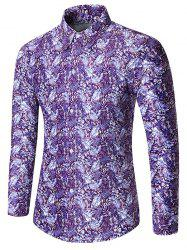 Leaf Pattern Button Long Sleeves Shirt -