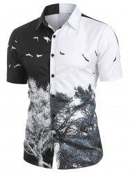 Tree and Bird Printed Button Up Shirt -