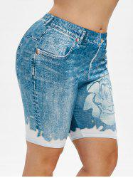 Plus Size High Rise 3D Jean Print Short Leggings -