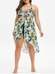 O Ring Halter Sunflower Leaves Print Plus Size Cover Up -