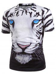 3D Tiger Graphic Short Sleeve T Shirt -
