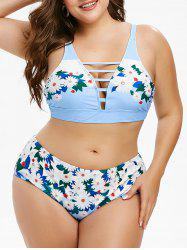Plus Size Floral Print Lattice Bikini Swimwear -