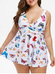 Skirted Butterfly Ruched Plus Size Tankini Swimwear -