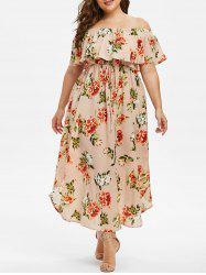 Plus Size Off The Shoulder Ruffled Floral Dress -