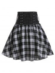Plaid Print High Waisted Lace-up Skirt -