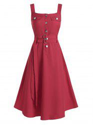 Buttons Self Tie Belt Fit And Flare Dress -