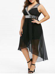 Plus Size Splicing Sequins High Low Party Dress -