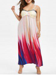 Plus Size Crossover Sequins Tie Dye Maxi Dress -