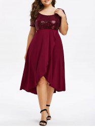 Plus Size Sequin High Low Splicing Dress -