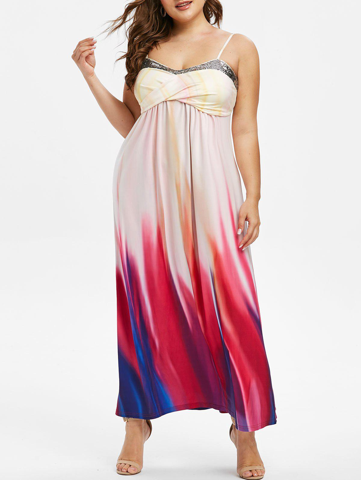 Cheap Plus Size Crossover Sequins Tie Dye Maxi Dress