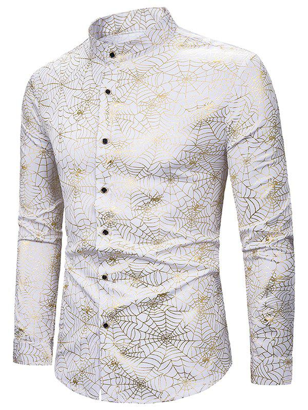 Buy Gilding Spider Web Pattern Stand Collar Button Up Shirt